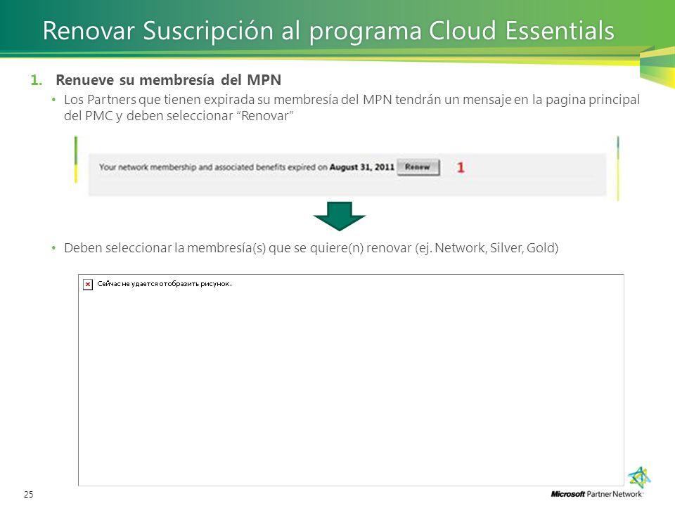 25 Renovar Suscripción al programa Cloud EssentialsRenovar Suscripción al programa Cloud Essentials 1.Renueve su membresía del MPN Los Partners que ti