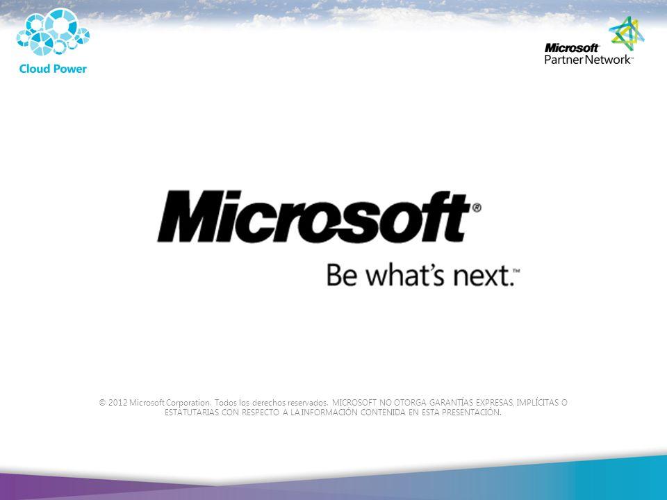 © 2012 Microsoft Corporation. Todos los derechos reservados. MICROSOFT NO OTORGA GARANTÍAS EXPRESAS, IMPLÍCITAS O ESTATUTARIAS CON RESPECTO A LA INFOR