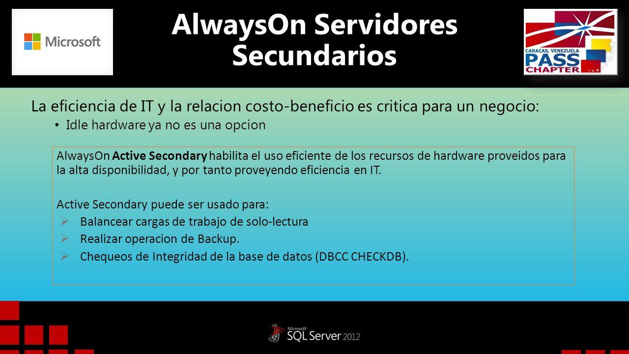 AlwaysOn Servidores Secundarios La eficiencia de IT y la relacion costo-beneficio es critica para un negocio: Idle hardware ya no es una opcion Always