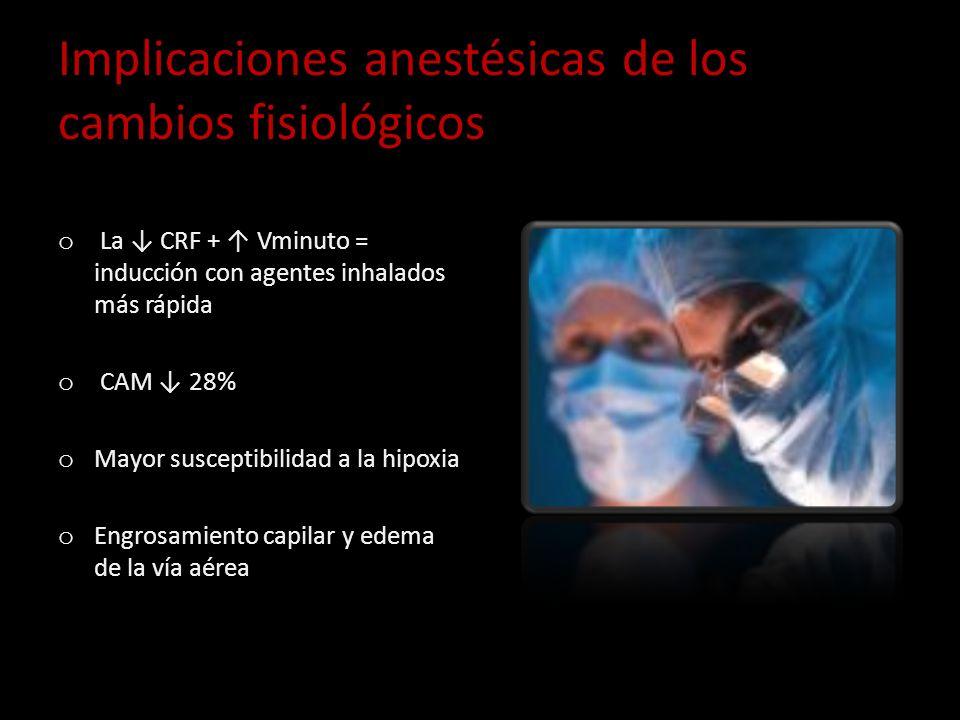 Implicaciones anestésicas de los cambios fisiológicos o La CRF + Vminuto = inducción con agentes inhalados más rápida o CAM 28% o Mayor susceptibilida