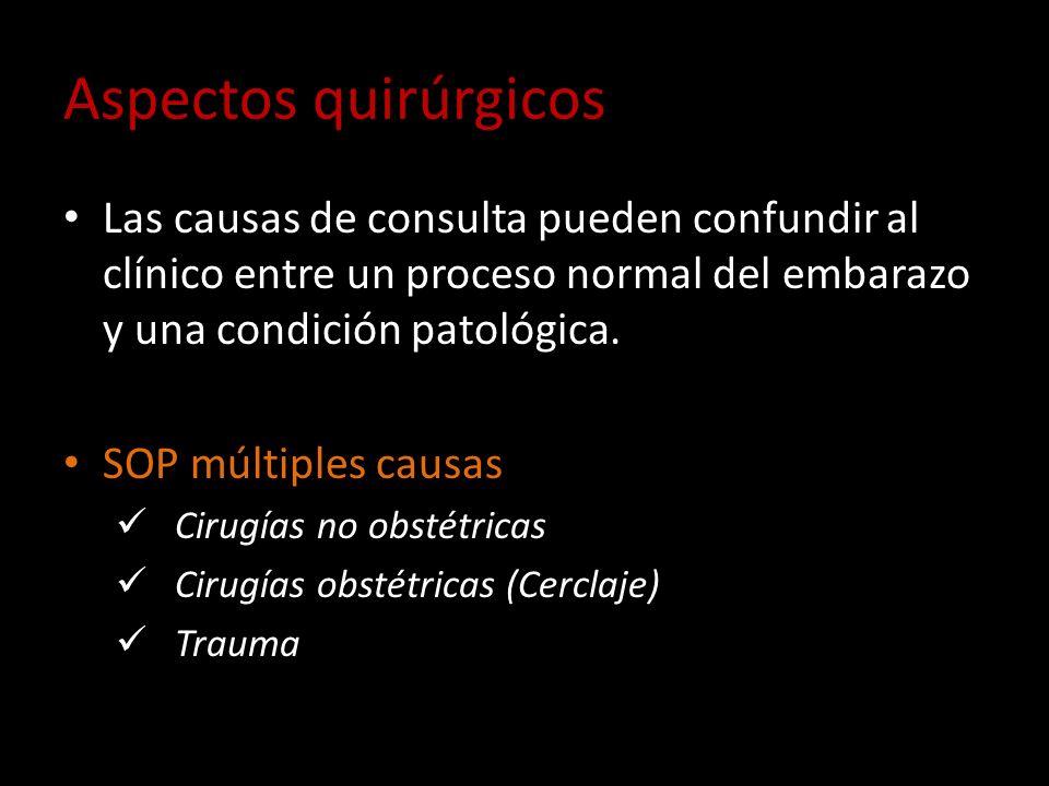 Aspectos quirúrgicos Las causas de consulta pueden confundir al clínico entre un proceso normal del embarazo y una condición patológica. SOP múltiples