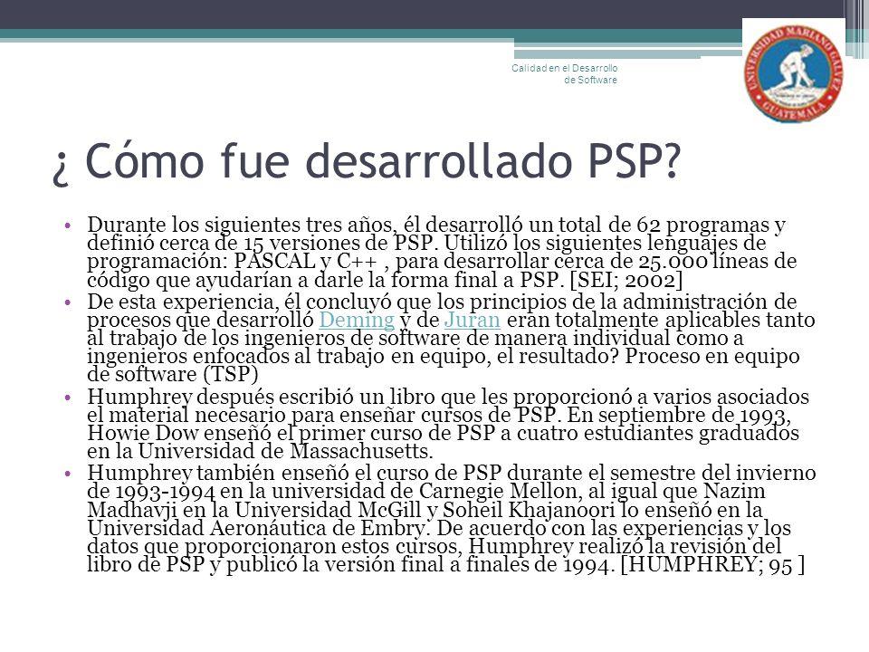 ¿ Cómo fue desarrollado PSP? Durante los siguientes tres años, él desarrolló un total de 62 programas y definió cerca de 15 versiones de PSP. Utilizó