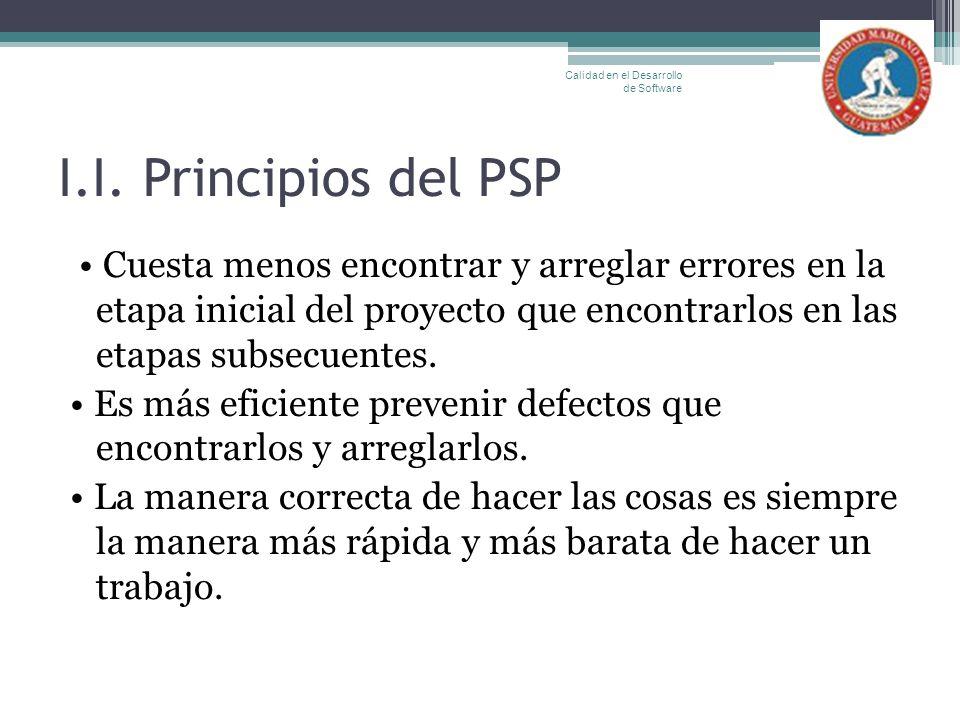 I.I. Principios del PSP Cuesta menos encontrar y arreglar errores en la etapa inicial del proyecto que encontrarlos en las etapas subsecuentes. Es más