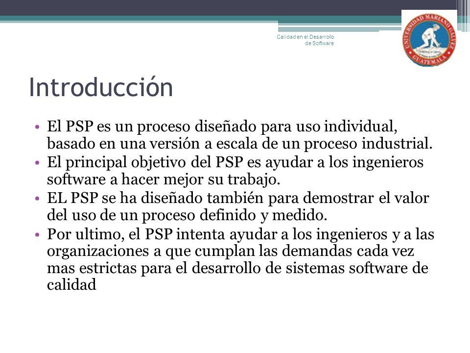 Introducción El PSP es un proceso diseñado para uso individual, basado en una versión a escala de un proceso industrial. El principal objetivo del PSP