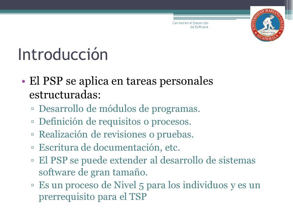 Introducción El PSP se aplica en tareas personales estructuradas: Desarrollo de módulos de programas. Definición de requisitos o procesos. Realización
