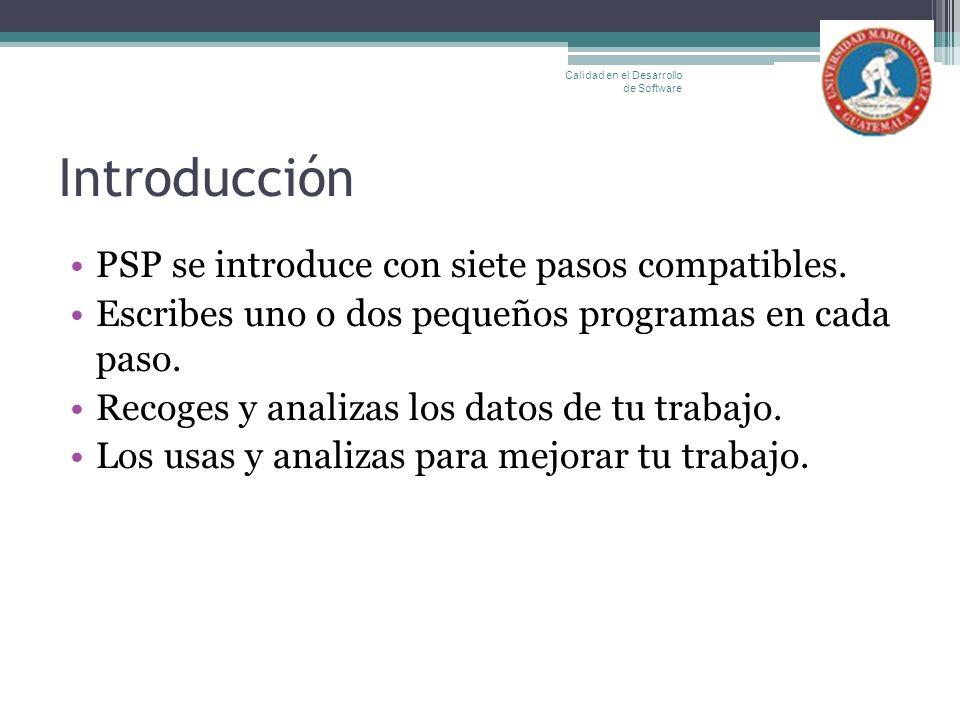 Introducción PSP se introduce con siete pasos compatibles. Escribes uno o dos pequeños programas en cada paso. Recoges y analizas los datos de tu trab