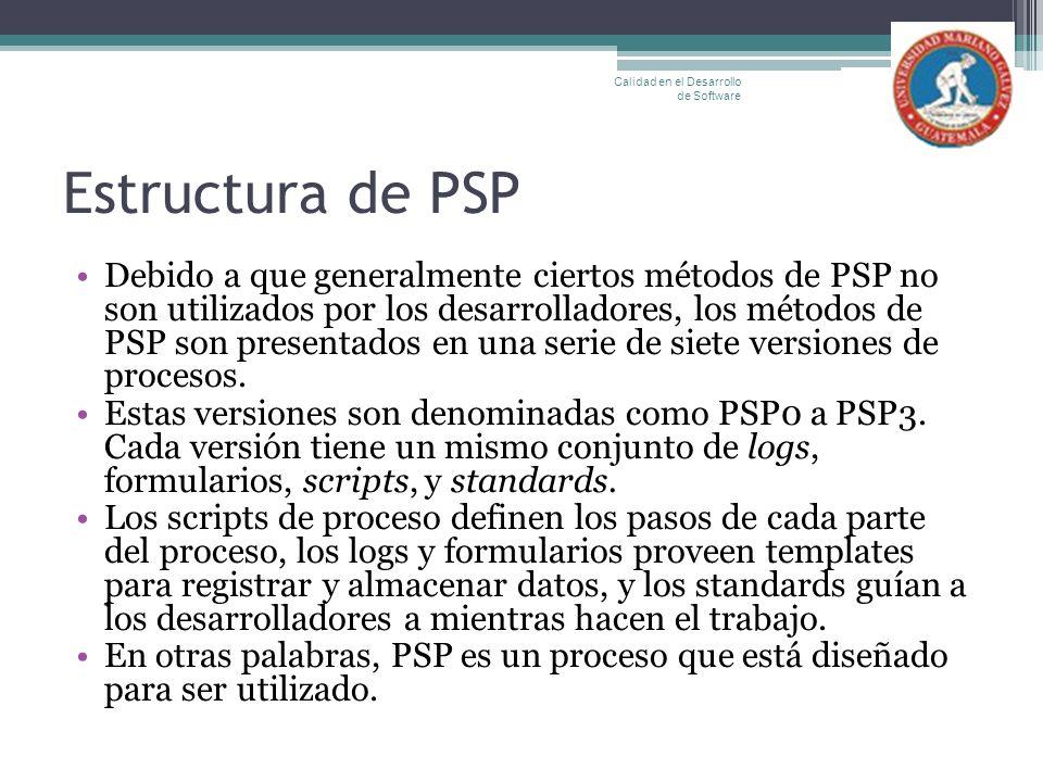 Estructura de PSP Debido a que generalmente ciertos métodos de PSP no son utilizados por los desarrolladores, los métodos de PSP son presentados en un