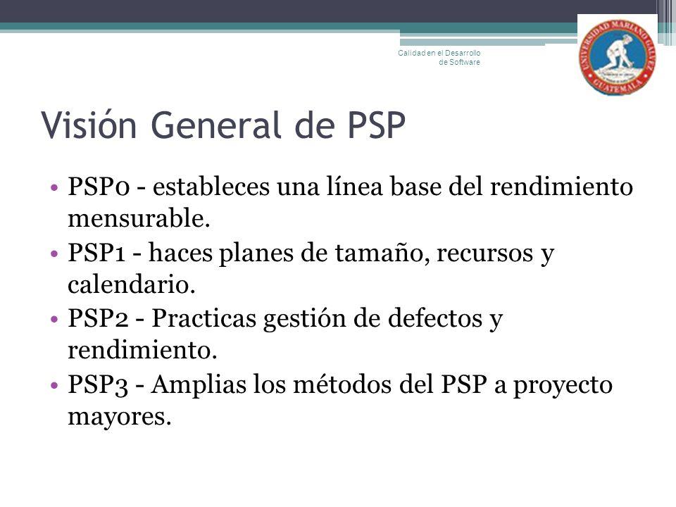 Visión General de PSP PSP0 - estableces una línea base del rendimiento mensurable. PSP1 - haces planes de tamaño, recursos y calendario. PSP2 - Practi