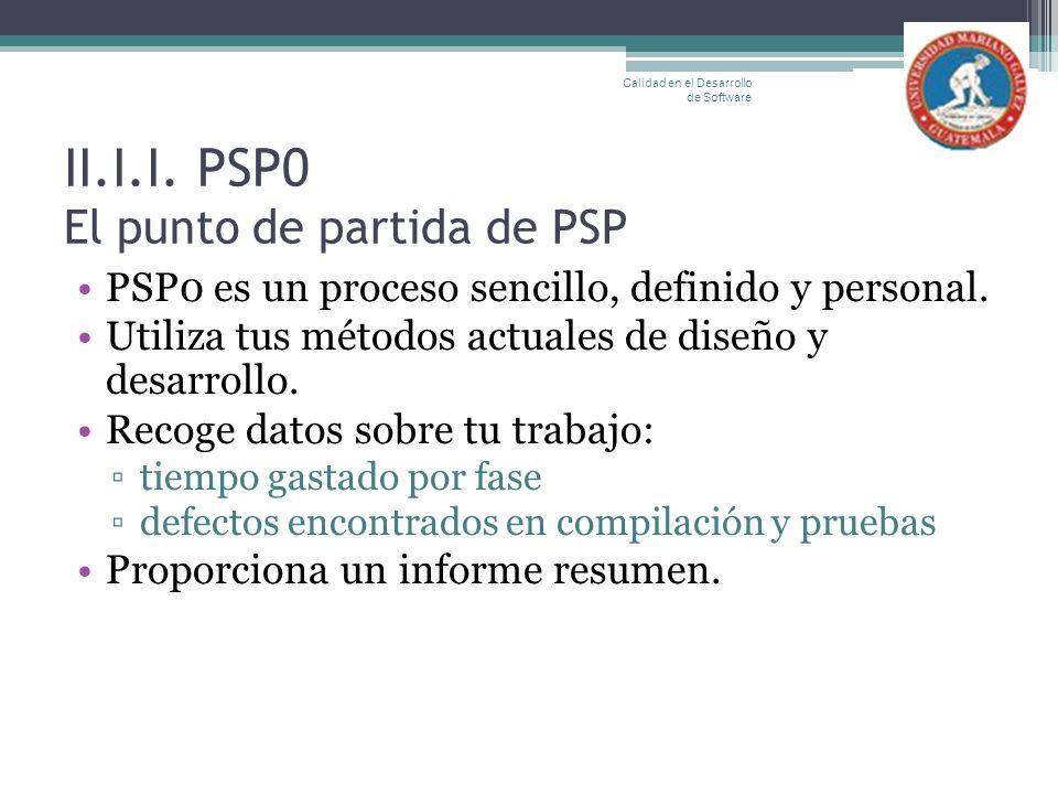 II.I.I. PSP0 El punto de partida de PSP PSP0 es un proceso sencillo, definido y personal. Utiliza tus métodos actuales de diseño y desarrollo. Recoge