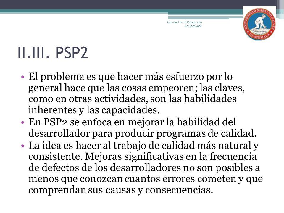 II.III. PSP2 El problema es que hacer más esfuerzo por lo general hace que las cosas empeoren; las claves, como en otras actividades, son las habilida