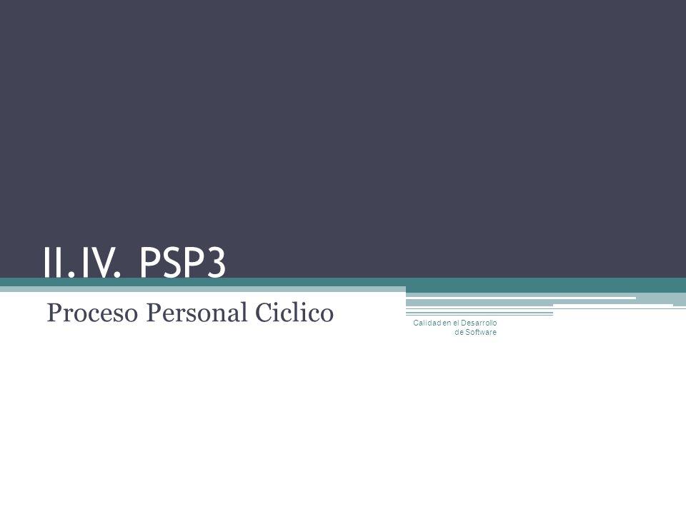 II.IV. PSP3 Proceso Personal Ciclico Calidad en el Desarrollo de Software