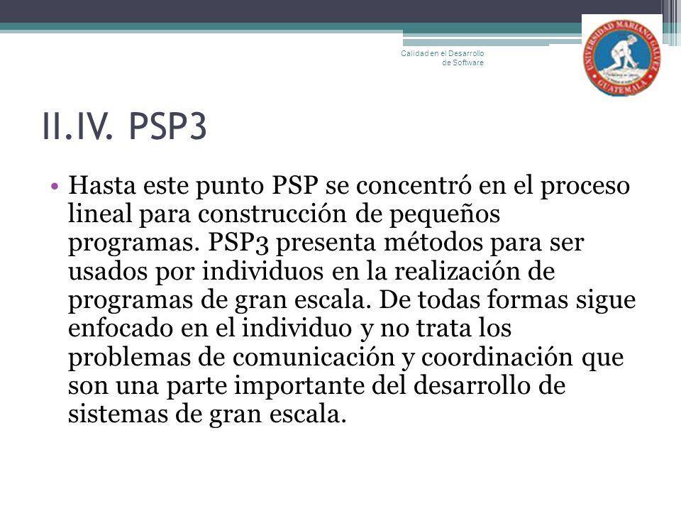 II.IV. PSP3 Hasta este punto PSP se concentró en el proceso lineal para construcción de pequeños programas. PSP3 presenta métodos para ser usados por