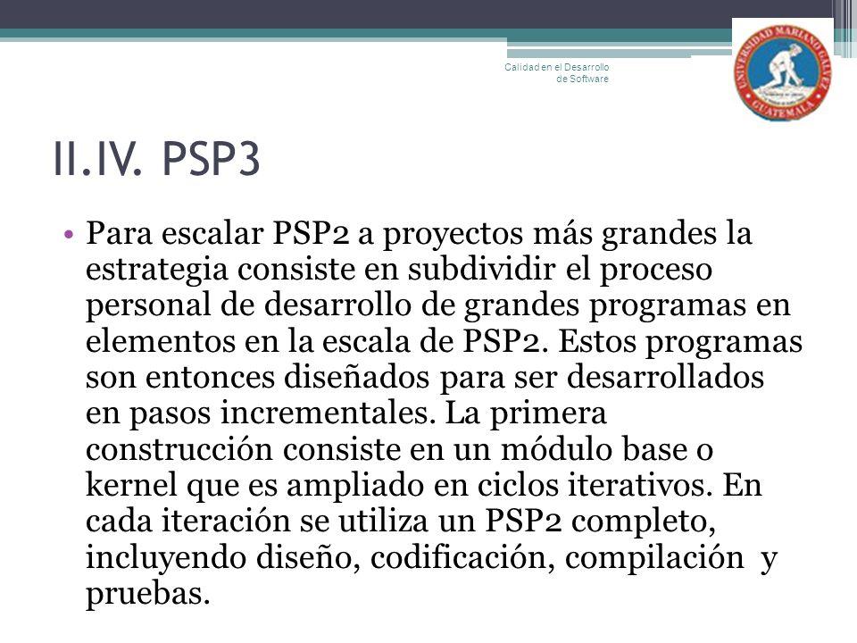 II.IV. PSP3 Para escalar PSP2 a proyectos más grandes la estrategia consiste en subdividir el proceso personal de desarrollo de grandes programas en e