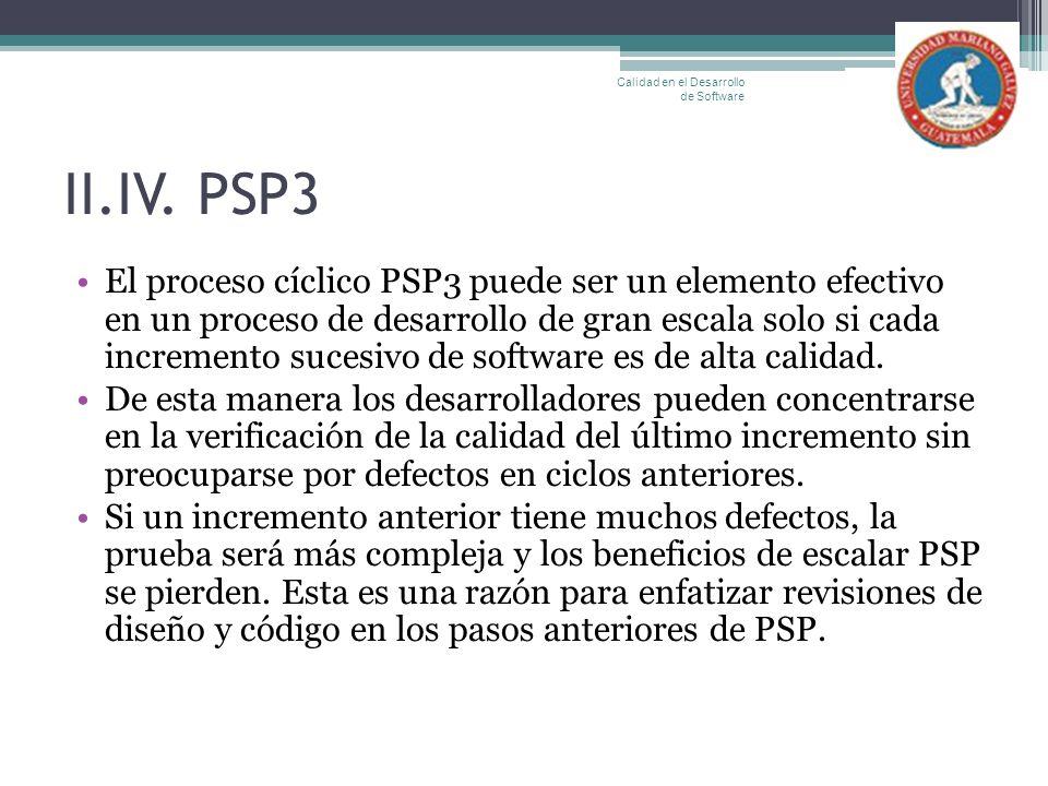 II.IV. PSP3 El proceso cíclico PSP3 puede ser un elemento efectivo en un proceso de desarrollo de gran escala solo si cada incremento sucesivo de soft