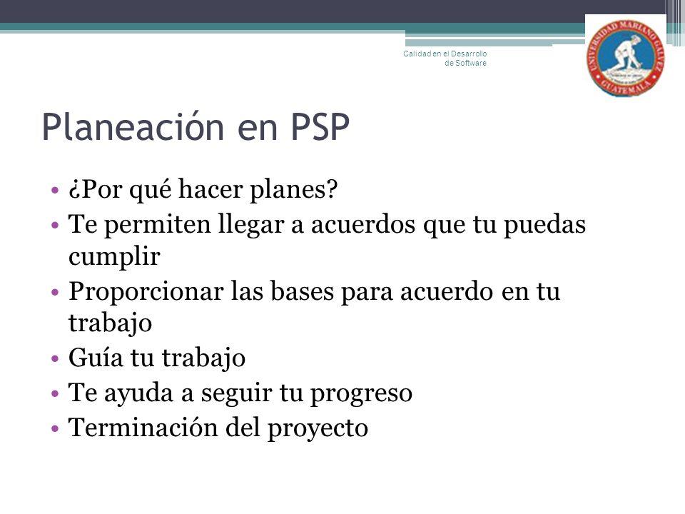 Planeación en PSP ¿Por qué hacer planes? Te permiten llegar a acuerdos que tu puedas cumplir Proporcionar las bases para acuerdo en tu trabajo Guía tu