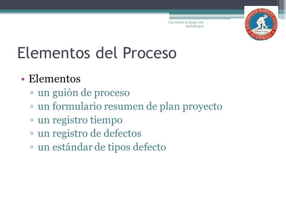 Elementos del Proceso Elementos un guión de proceso un formulario resumen de plan proyecto un registro tiempo un registro de defectos un estándar de t