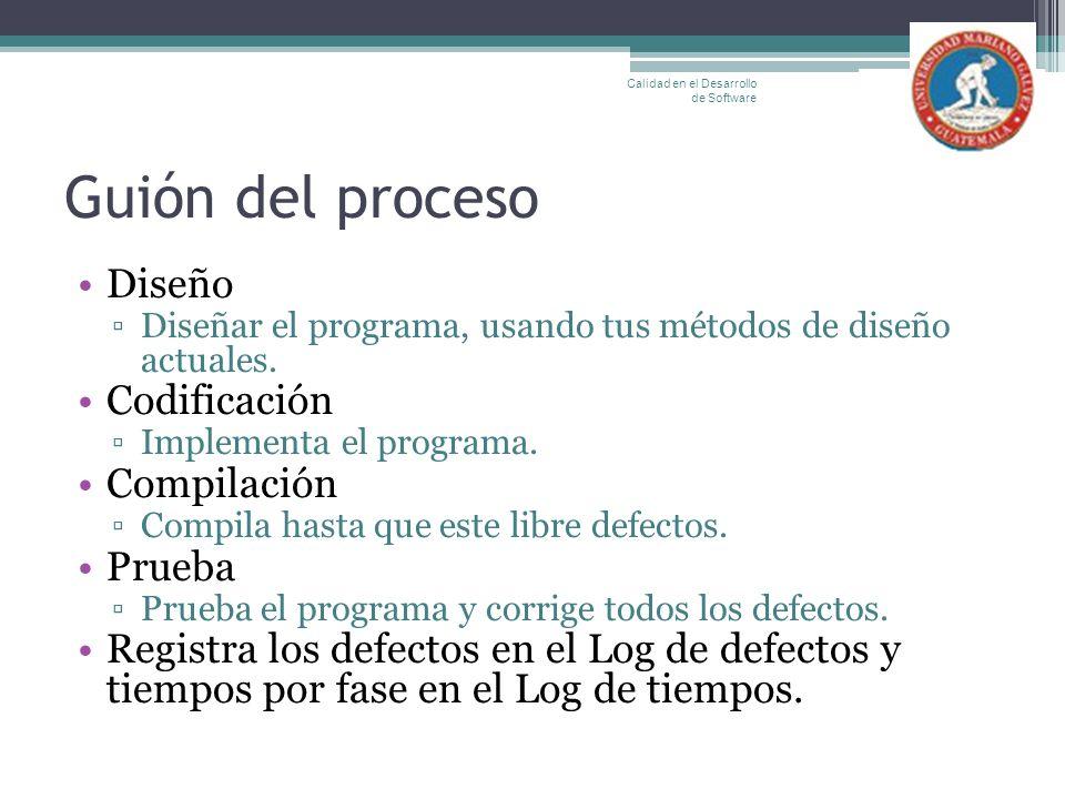 Guión del proceso Diseño Diseñar el programa, usando tus métodos de diseño actuales. Codificación Implementa el programa. Compilación Compila hasta qu
