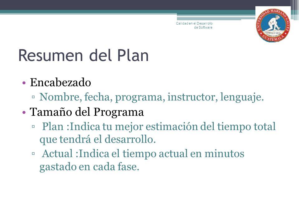Resumen del Plan Encabezado Nombre, fecha, programa, instructor, lenguaje. Tamaño del Programa Plan :Indica tu mejor estimación del tiempo total que t