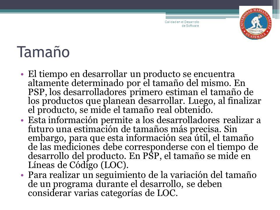 Tamaño El tiempo en desarrollar un producto se encuentra altamente determinado por el tamaño del mismo. En PSP, los desarrolladores primero estiman el