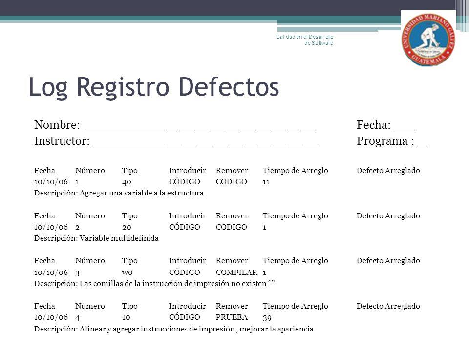 Log Registro Defectos Nombre: _______________________________Fecha: ___ Instructor: ______________________________Programa :__ FechaNúmeroTipoIntroduc
