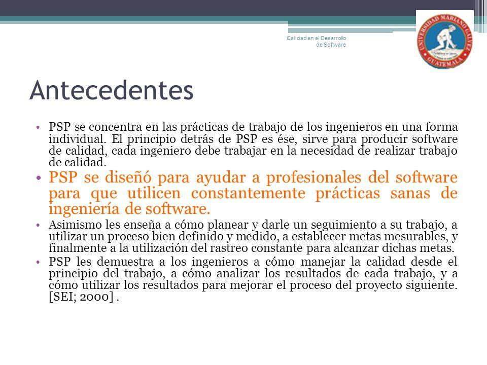 Antecedentes PSP se concentra en las prácticas de trabajo de los ingenieros en una forma individual. El principio detrás de PSP es ése, sirve para pro