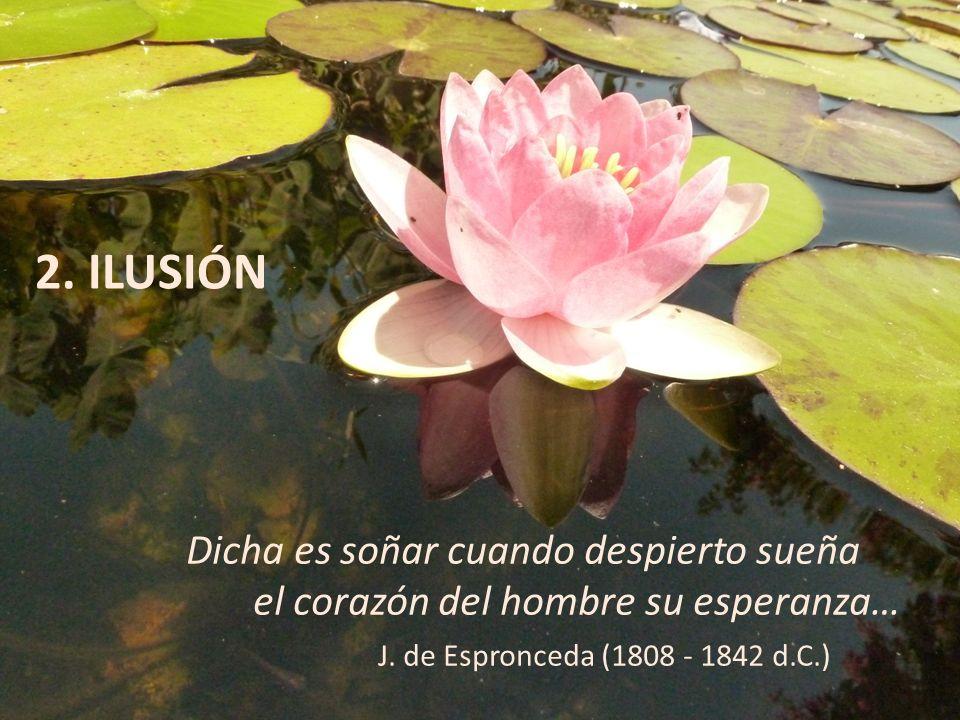 2. ILUSIÓN Dicha es soñar cuando despierto sueña el corazón del hombre su esperanza… J. de Espronceda (1808 - 1842 d.C.)