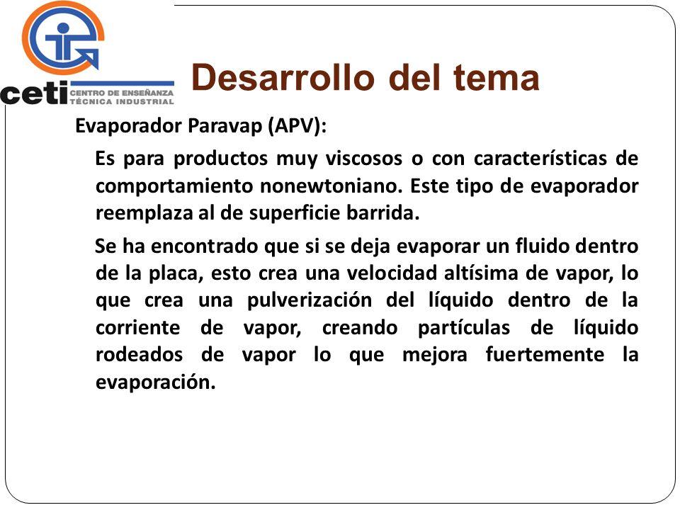 Desarrollo del tema Evaporador Paravap (APV): Es para productos muy viscosos o con características de comportamiento nonewtoniano. Este tipo de evapor