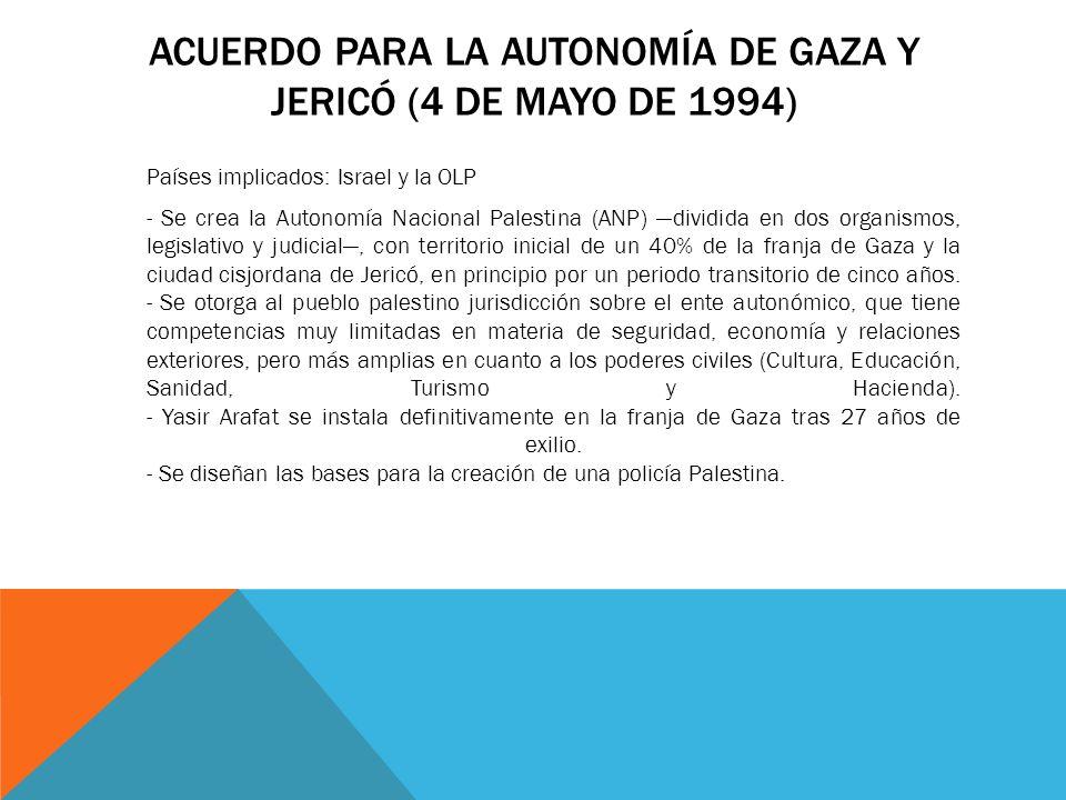 ACUERDO PARA LA AUTONOMÍA DE GAZA Y JERICÓ (4 DE MAYO DE 1994) Países implicados: Israel y la OLP - Se crea la Autonomía Nacional Palestina (ANP) divi