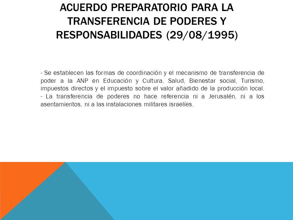 ACUERDO PREPARATORIO PARA LA TRANSFERENCIA DE PODERES Y RESPONSABILIDADES (29/08/1995) - Se establecen las formas de coordinación y el mecanismo de tr