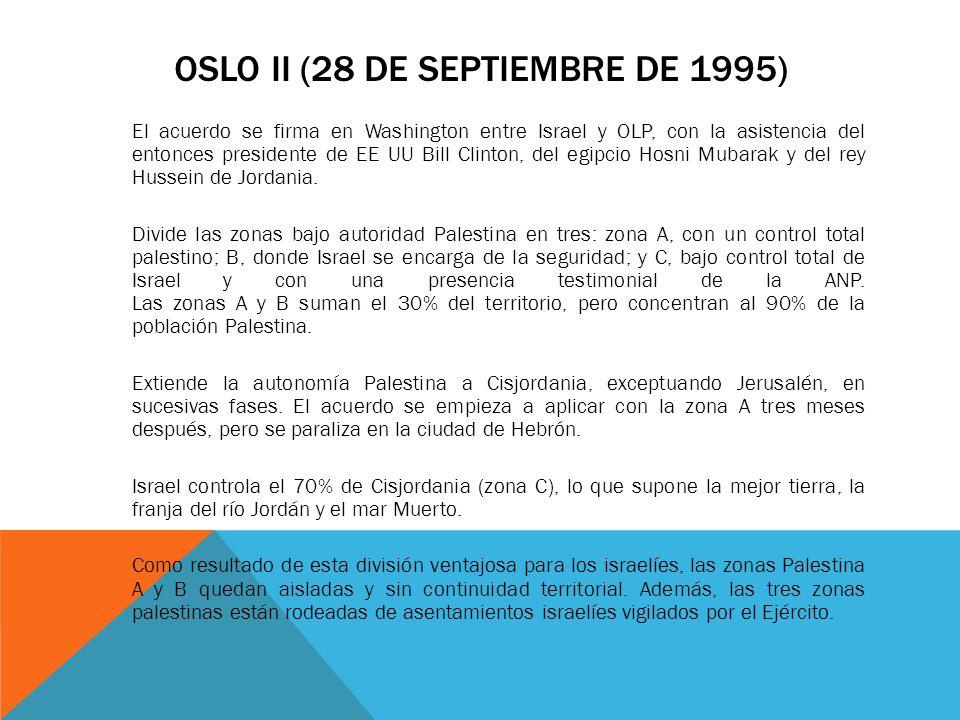 OSLO II (28 DE SEPTIEMBRE DE 1995) El acuerdo se firma en Washington entre Israel y OLP, con la asistencia del entonces presidente de EE UU Bill Clint