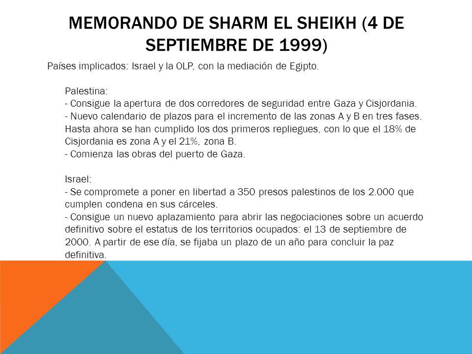 MEMORANDO DE SHARM EL SHEIKH (4 DE SEPTIEMBRE DE 1999) Países implicados: Israel y la OLP, con la mediación de Egipto. Palestina: - Consigue la apertu