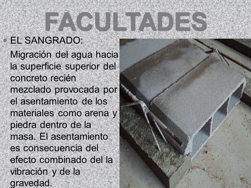 FACULTADES EXUDACIÓN: Ascenso de una parte del agua de la mezcla hacia la superficie como consecuencia de la sedimentación de los sólidos. Presentado