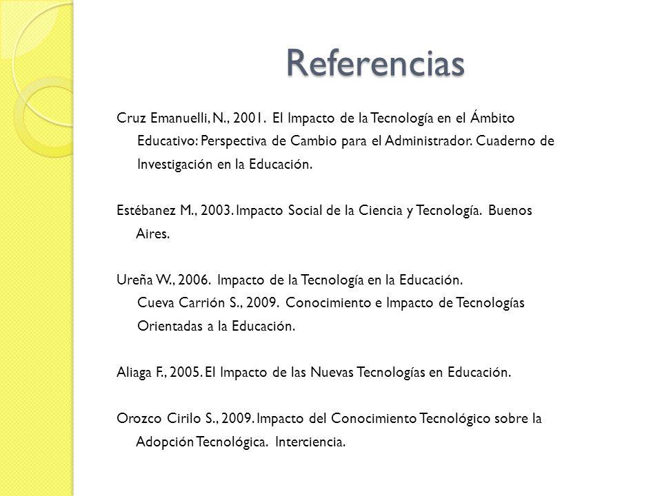 Referencias Cruz Emanuelli, N., 2001. El Impacto de la Tecnología en el Ámbito Educativo: Perspectiva de Cambio para el Administrador. Cuaderno de Inv
