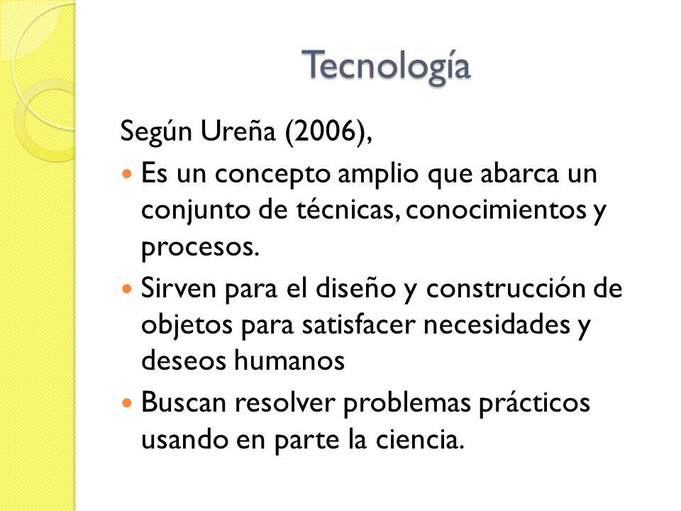 Tecnología Según Ureña (2006), Es un concepto amplio que abarca un conjunto de técnicas, conocimientos y procesos. Sirven para el diseño y construcció