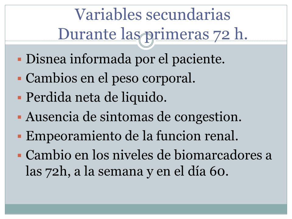 Variables secundarias Durante las primeras 72 h. Disnea informada por el paciente. Cambios en el peso corporal. Perdida neta de liquido. Ausencia de s