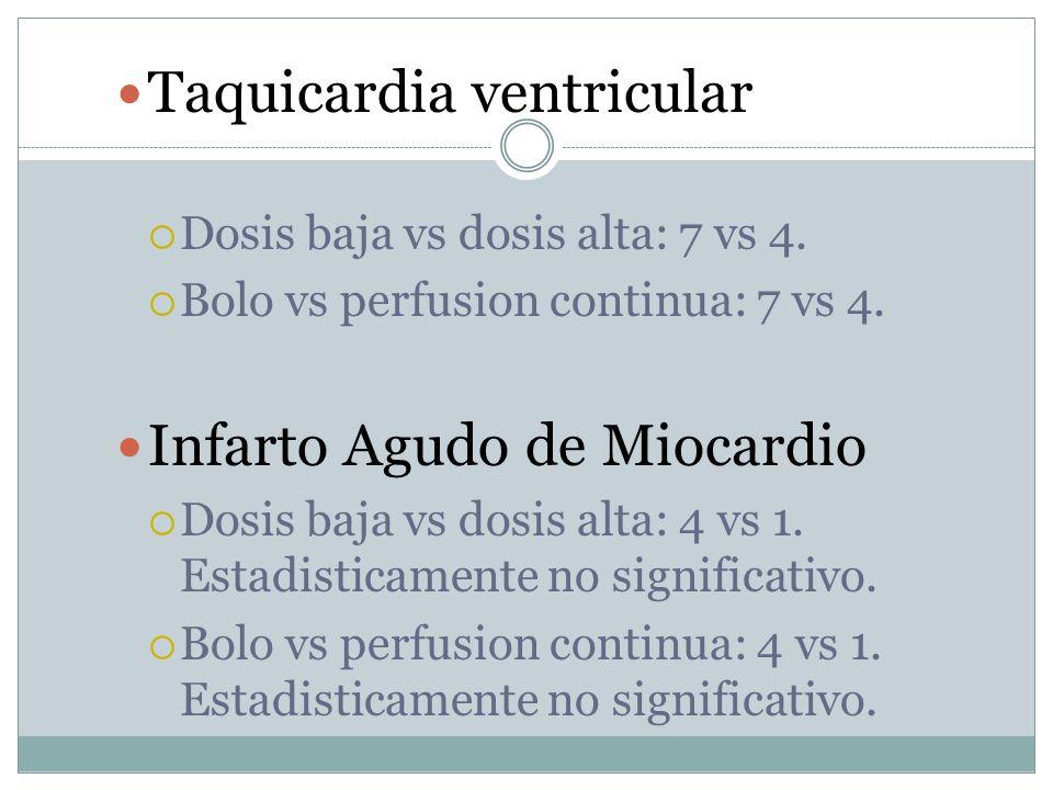 Taquicardia ventricular Dosis baja vs dosis alta: 7 vs 4. Bolo vs perfusion continua: 7 vs 4. Infarto Agudo de Miocardio Dosis baja vs dosis alta: 4 v