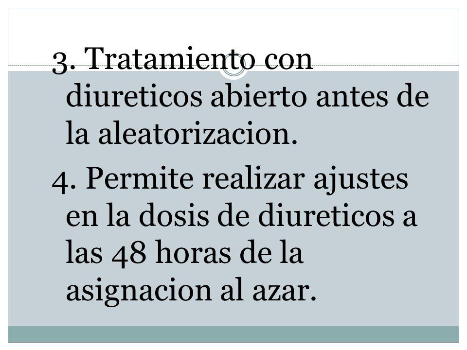3. Tratamiento con diureticos abierto antes de la aleatorizacion. 4. Permite realizar ajustes en la dosis de diureticos a las 48 horas de la asignacio