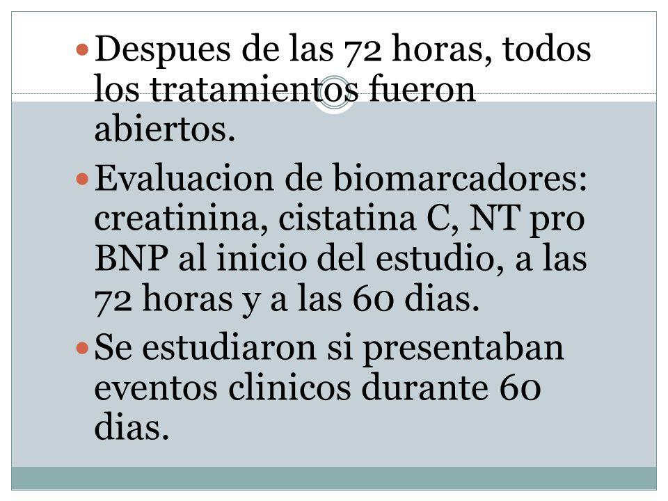 Despues de las 72 horas, todos los tratamientos fueron abiertos. Evaluacion de biomarcadores: creatinina, cistatina C, NT pro BNP al inicio del estudi