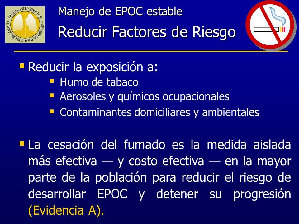 Manejo de EPOC estable Reducir Factores de Riesgo Reducir la exposición a: Humo de tabaco Aerosoles y químicos ocupacionales Contaminantes domiciliare