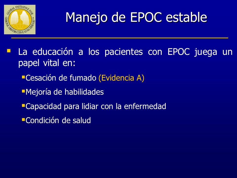 Manejo de EPOC estable La educación a los pacientes con EPOC juega un papel vital en: Cesación de fumado (Evidencia A) Mejoría de habilidades Capacida