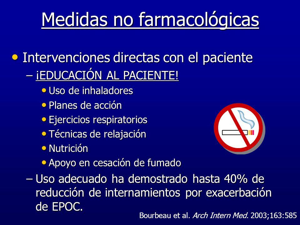 Medidas no farmacológicas Intervenciones directas con el paciente Intervenciones directas con el paciente –¡EDUCACIÓN AL PACIENTE! Uso de inhaladores