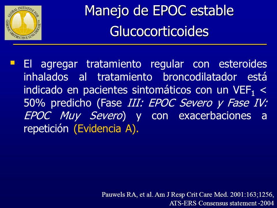 El agregar tratamiento regular con esteroides inhalados al tratamiento broncodilatador está indicado en pacientes sintomáticos con un VEF 1 < 50% pred