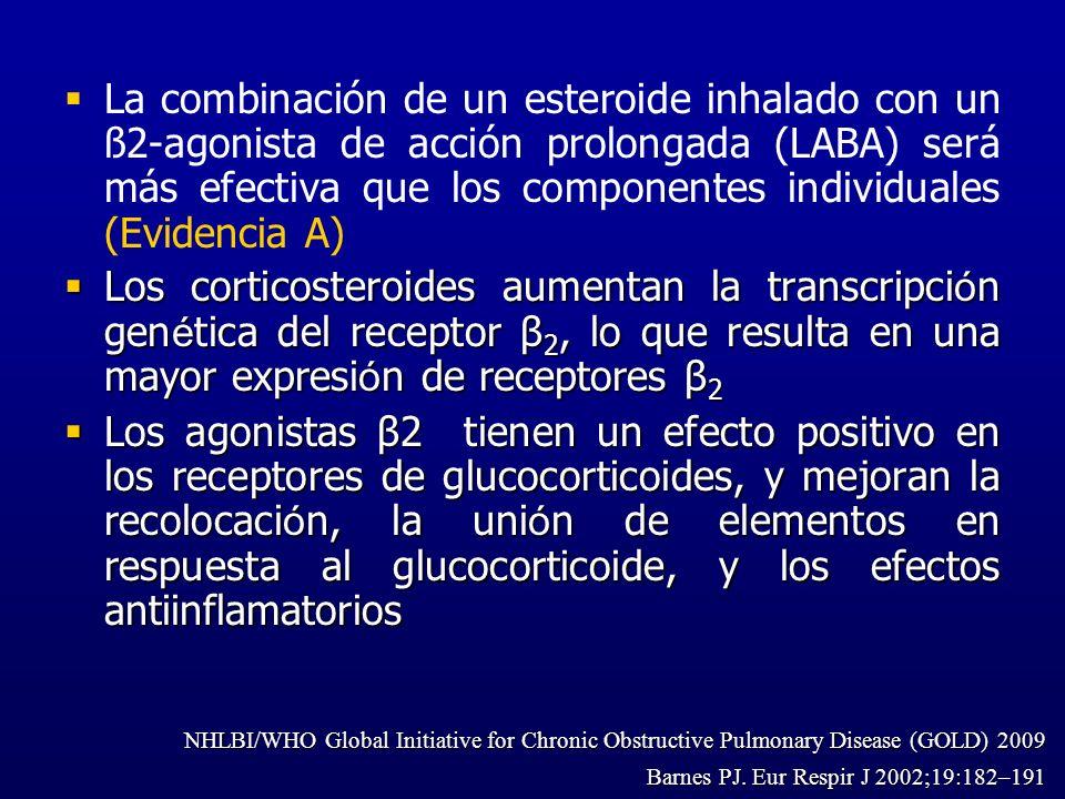 La combinación de un esteroide inhalado con un ß2-agonista de acción prolongada (LABA) será más efectiva que los componentes individuales (Evidencia A