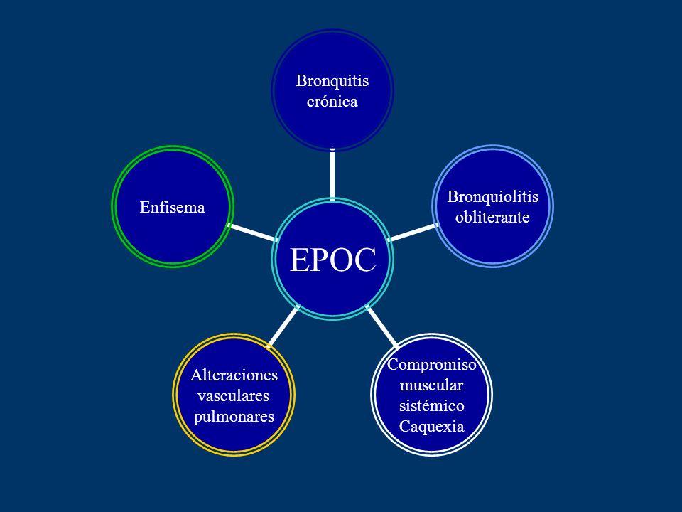 EPOC Bronquitis crónica Bronquiolitis obliterante Compromiso muscular sistémico Caquexia Alteraciones vasculares pulmonares Enfisema
