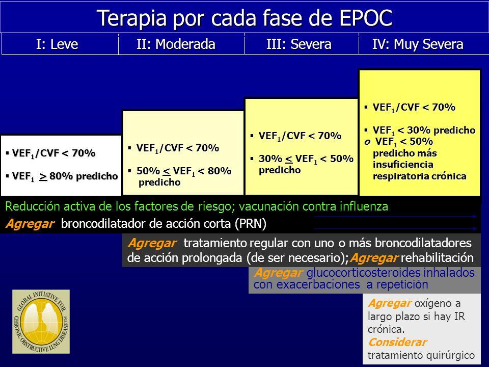 IV: Muy Severa IV: Muy Severa III: Severa III: Severa II: Moderada II: Moderada I: Leve I: Leve Terapia por cada fase de EPOC VEF 1 /CVF < 70% VEF 1 /