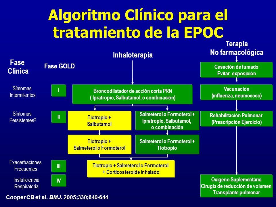 Cooper CB et al. BMJ. 2005;330;640-644 Inhaloterapia I II Salmeterol o Formoterol + Ipratropio, Salbutamol, o combinación Tiotropio + Salbutamol III S