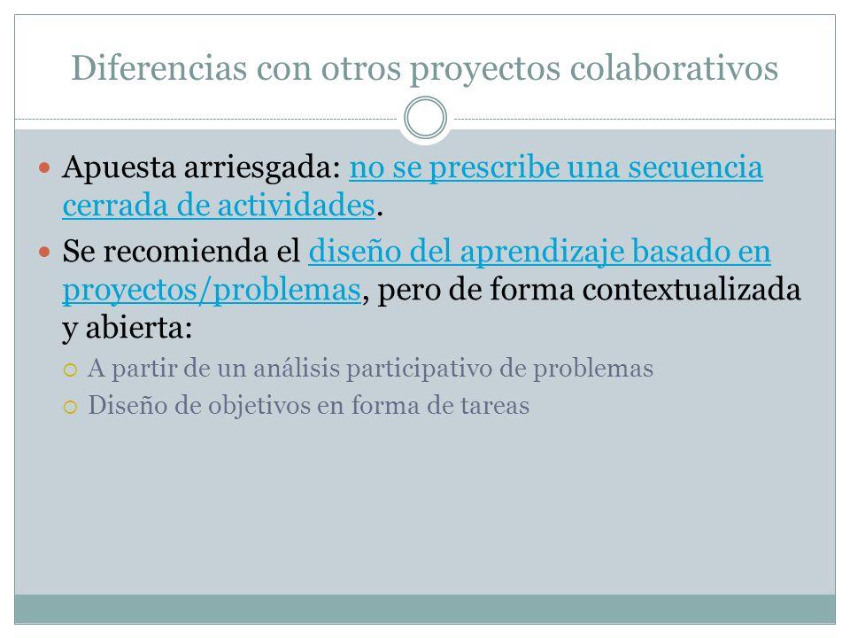 Diferencias con otros proyectos colaborativos Apuesta arriesgada: no se prescribe una secuencia cerrada de actividades.no se prescribe una secuencia c