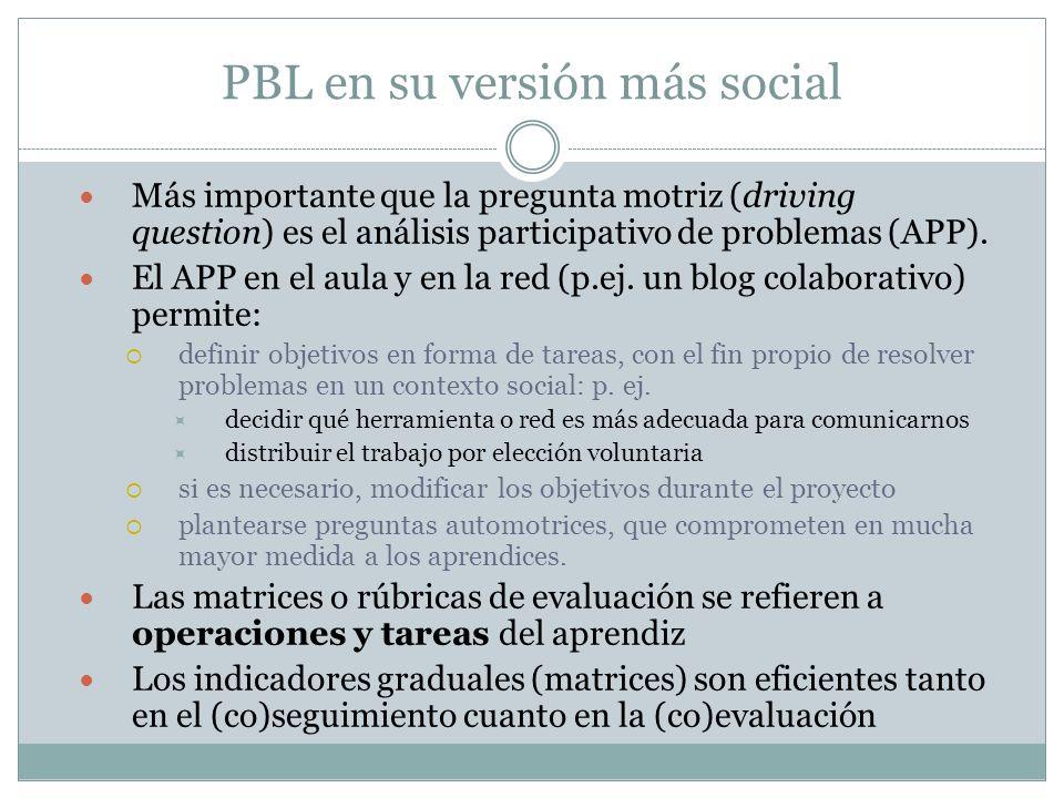 PBL en su versión más social Más importante que la pregunta motriz (driving question) es el análisis participativo de problemas (APP). El APP en el au