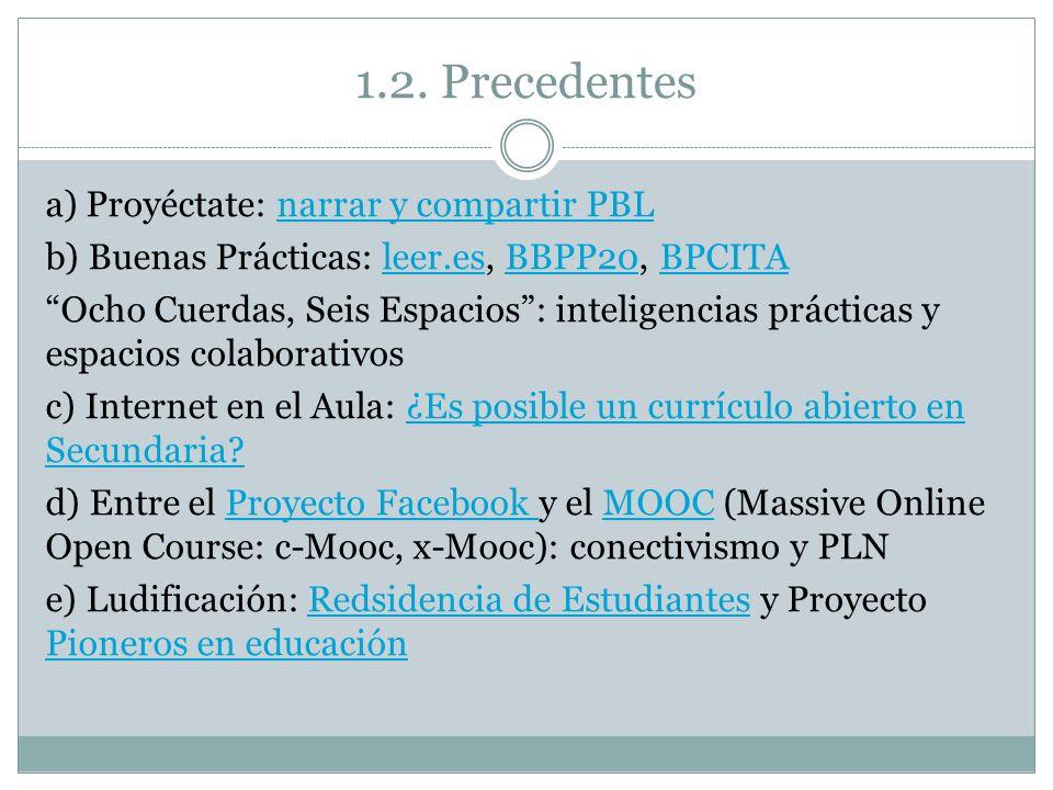 1.2. Precedentes a) Proyéctate: narrar y compartir PBLnarrar y compartir PBL b) Buenas Prácticas: leer.es, BBPP20, BPCITAleer.esBBPP20BPCITA Ocho Cuer
