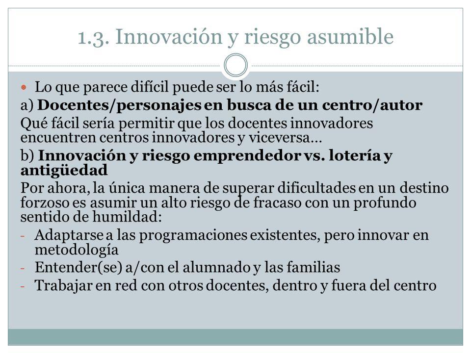 1.3. Innovación y riesgo asumible Lo que parece difícil puede ser lo más fácil: a) Docentes/personajes en busca de un centro/autor Qué fácil sería per